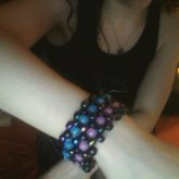 Simple Multi Cuff (dark Colors And Glow Beads)