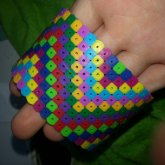 Distored Rainbow Perler Cuff