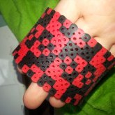 Black And Red Perler Cuff