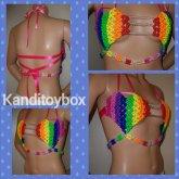 Rainbow Heart Kandi Bra