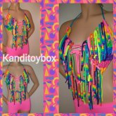 Rainbow Fringe Kandi Bra