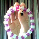 Purple Sparkly And Glow In The Dark White With Moon Charm Single