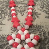 Red And White Ribbon Star Necklace