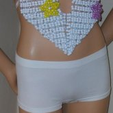Sexy White Top With Rainbow Stars