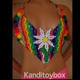 Rainbow Flower Kandi Bra