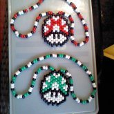 Red And Green Mushroom Necklaces