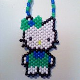 Blue And Green Hello Kitty Necklace