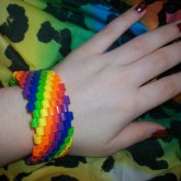 Wearing Perler Bead Rainbow Diagonal Cuff!