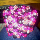 Pink And Black Herringbone Cuff