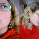 Cherry And Watermelon Ear Danglers