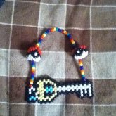 Rainbow Necklace With Pokeballs And Keyblade :D