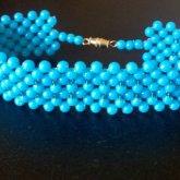 Blue Beaded Cuff