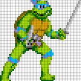 TMNT Leonardo - Oversized Perler Pattern