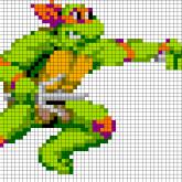 TMNT Raphael - Oversized Perler Pattern