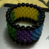 Green, Yellow, Blue, Purple Peyote Cuff.