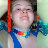 Glitter Rainbow Dash Kandi Choker Worn