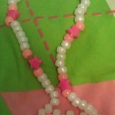 Pink And White Glow In The Dark Bow Choker :)