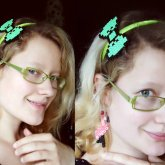 8bit Bow Hairband And Ear Danglers