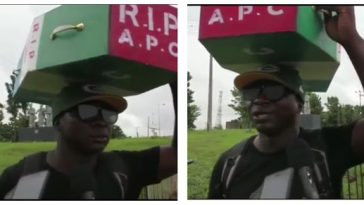 Man Who Celebrated Buhari's Victory By Trekking To Abuja, Returns With APC Casket On His Head [Photos] 7