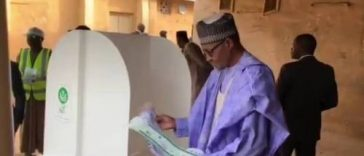 """I Will Congratulate Myself After The Election"" – Buhari Says As He Casts Vote In Daura 35"