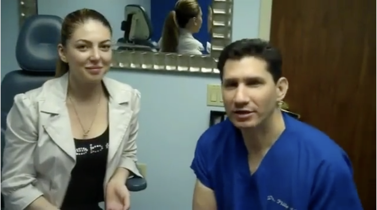 Dr Miller reviews the rhinoplasty results with patient 6 weeks after surgery