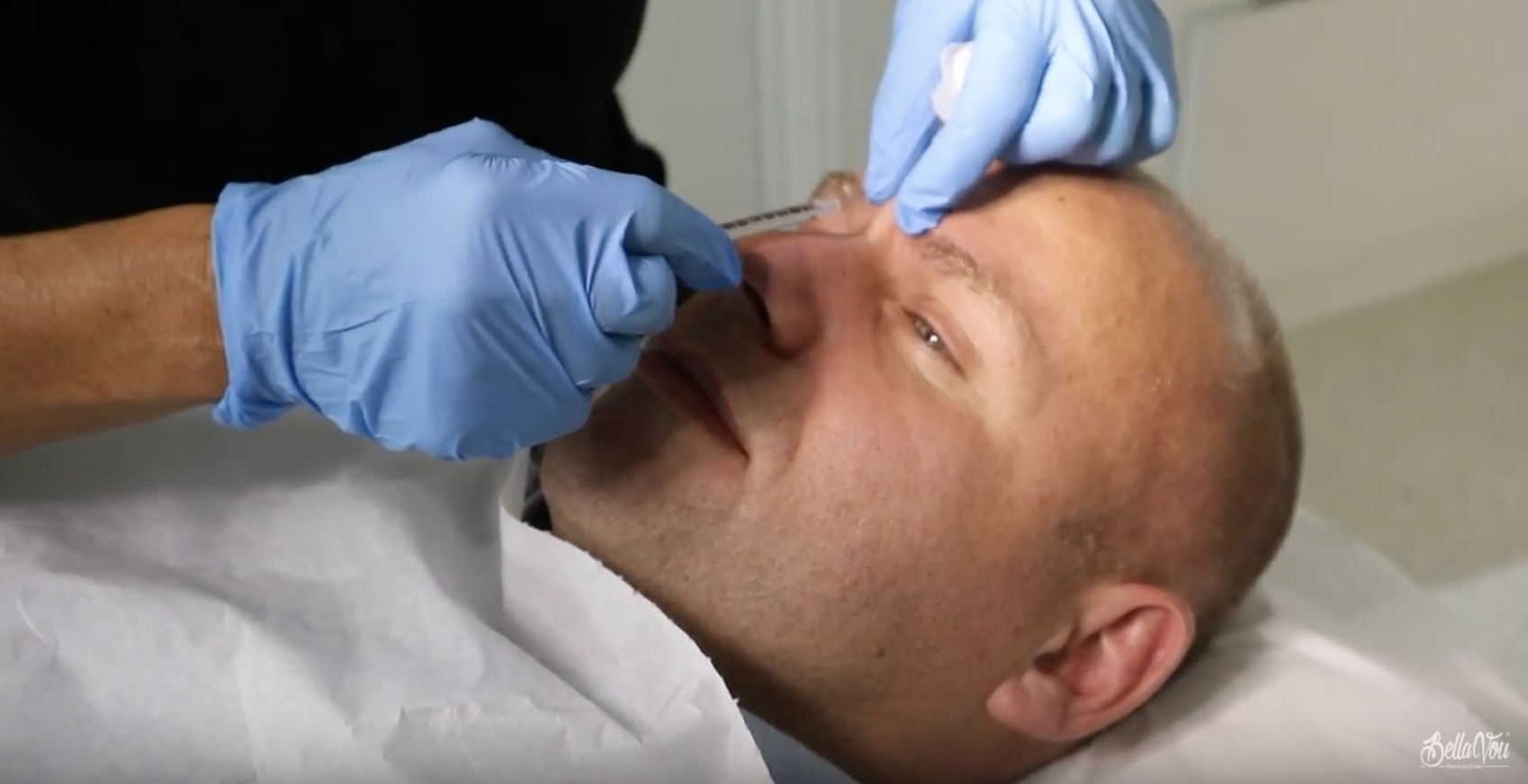 Anti wrinkle injection demonstration for men