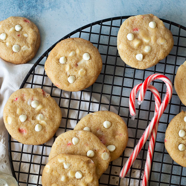 Chewy Peppermint White Chocolate Chip Cookies