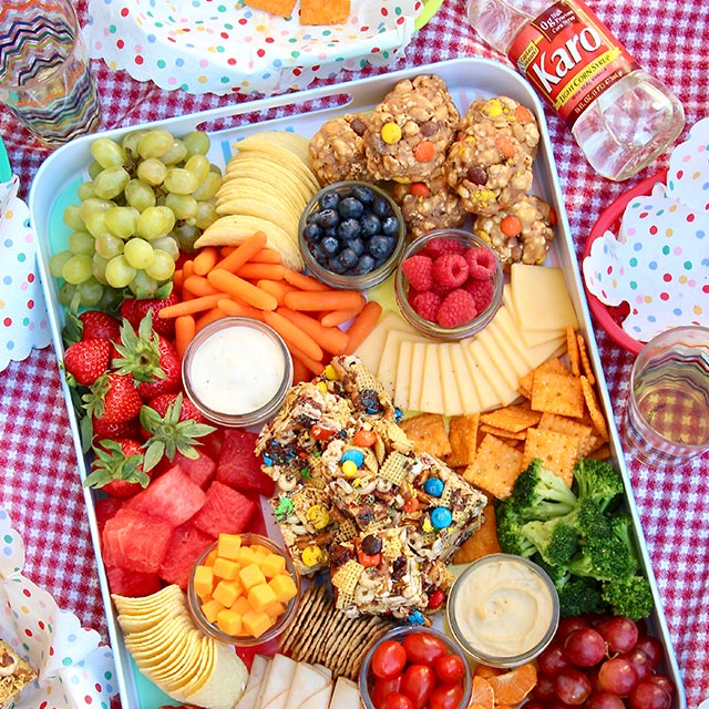 Summer Picnic Snack Tray No Bake Bars