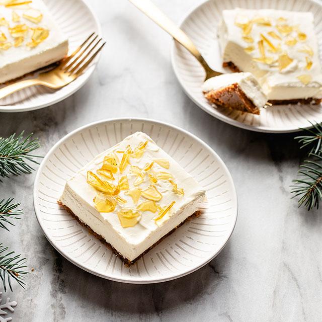 No-Bake Cheesecake Bars with Cracked Sugar Topping