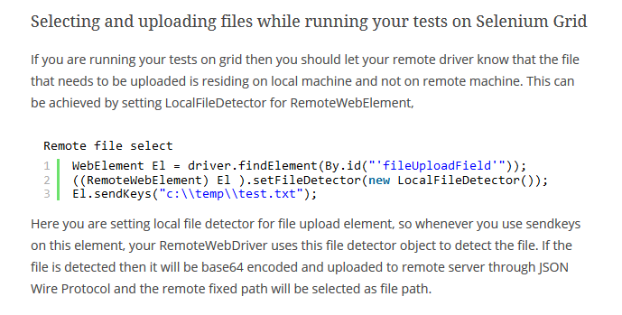 Local File Detector to handle file uploads on remote