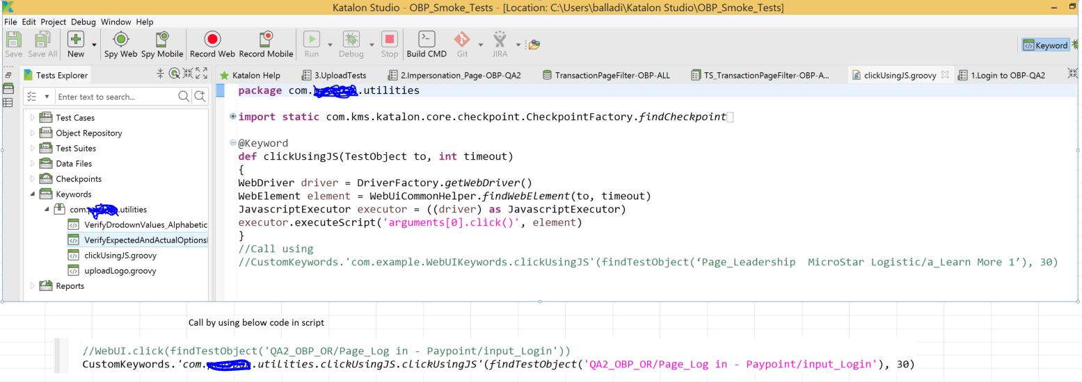 Execute javascript - Web Testing - Katalon Community