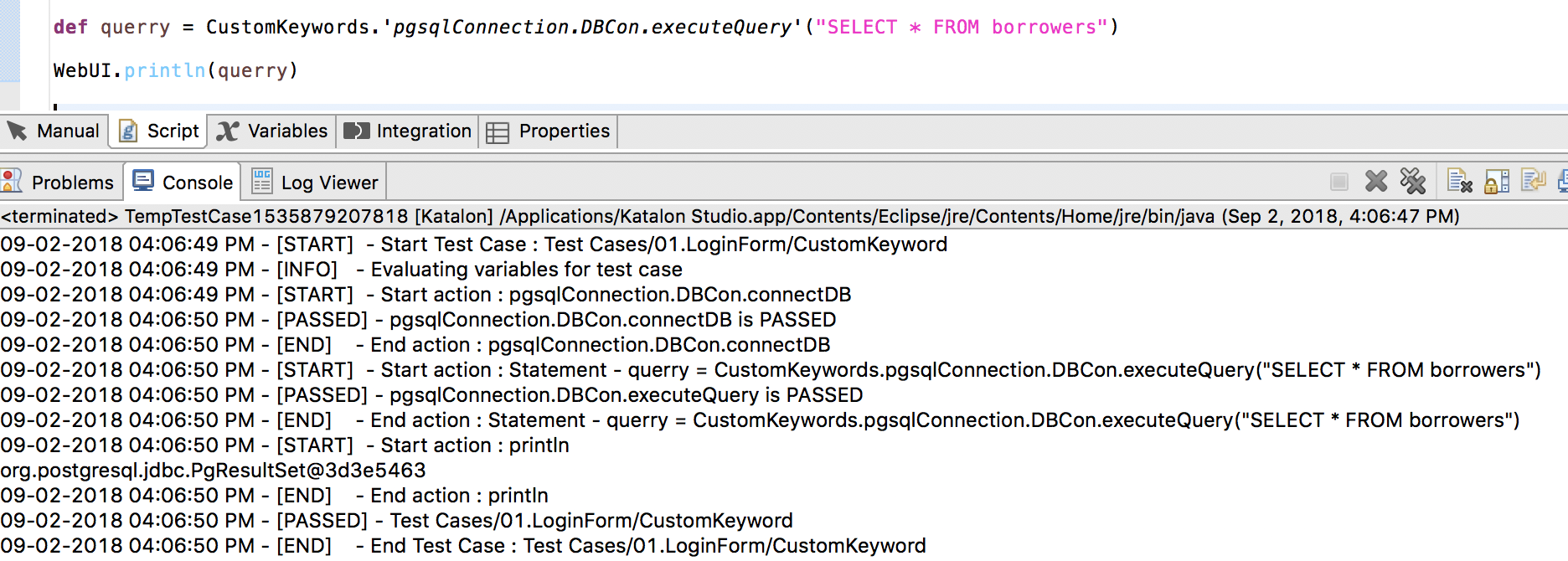 How can i conncet and execute query postgresql in katalon