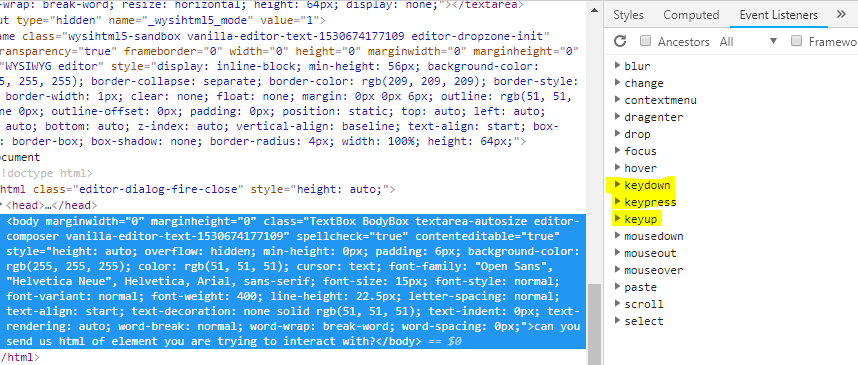 How to create test case to write text into Redactor Editor