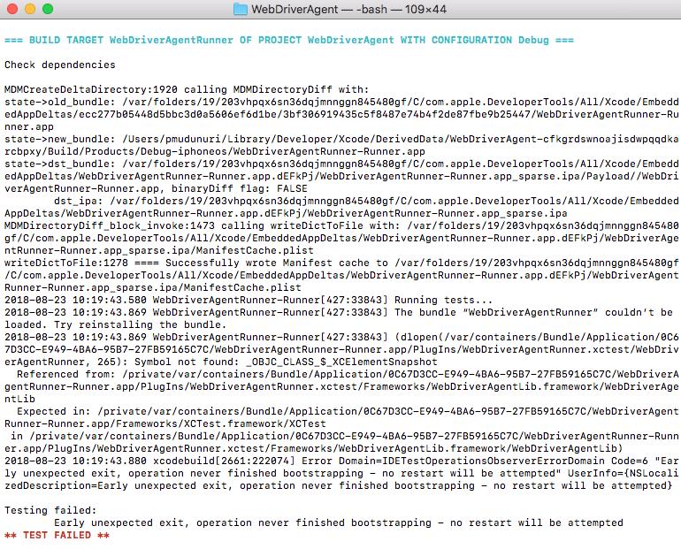 iOS testing on mac-Error -Testing Failed in Terminal - Mobile