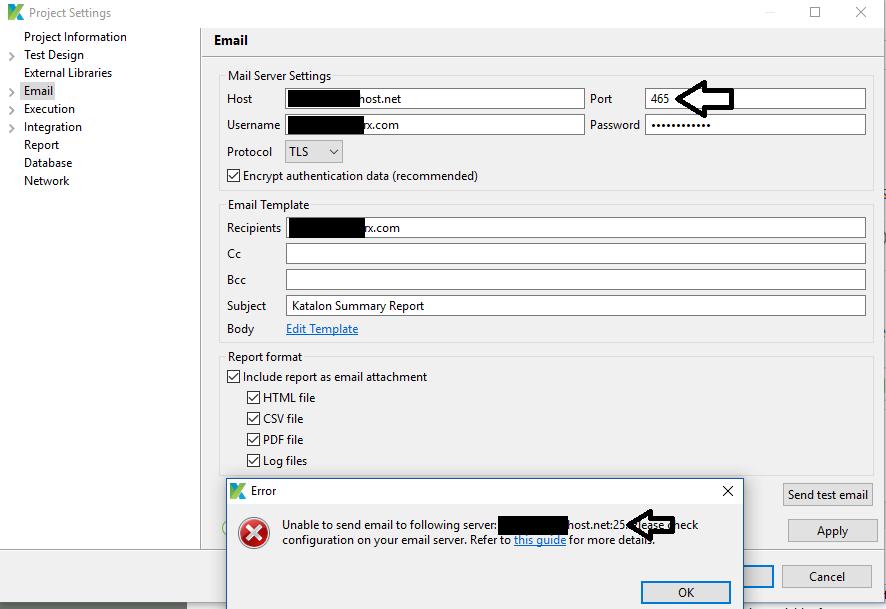 Mail setup not working properly - Bug Reports - Katalon