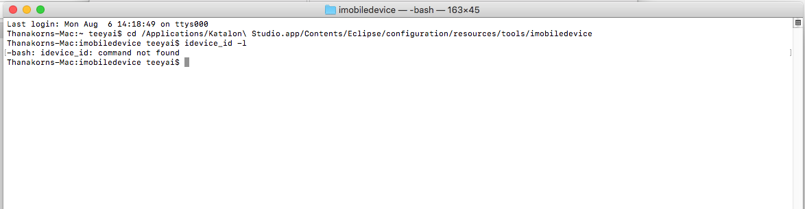 Katalon Studio doesn't see my ios device on mac  - Mobile Testing