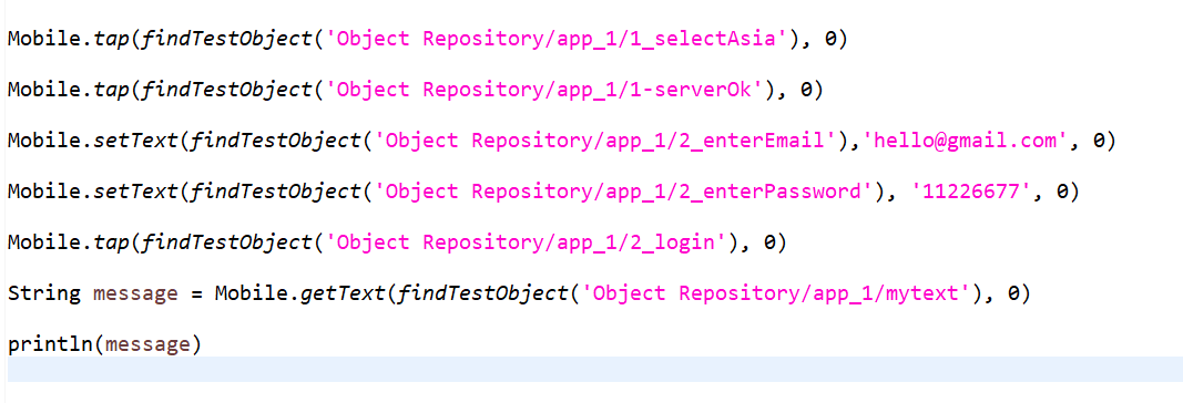 Root cause: Object Object Repository/test/mytext not found