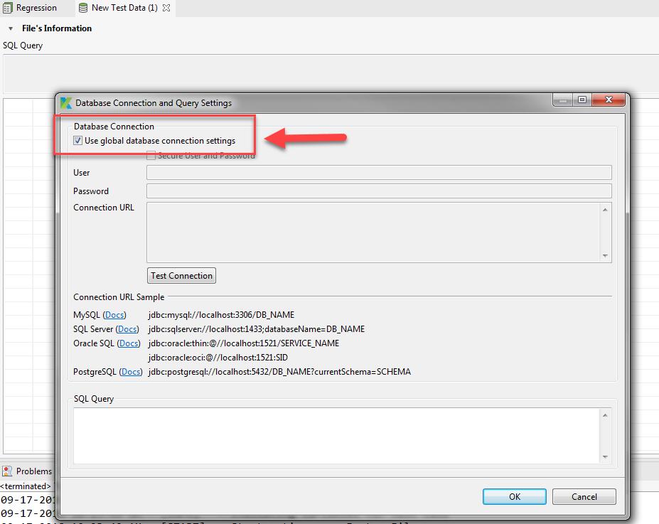 Project database settings usage - Web Testing - Katalon