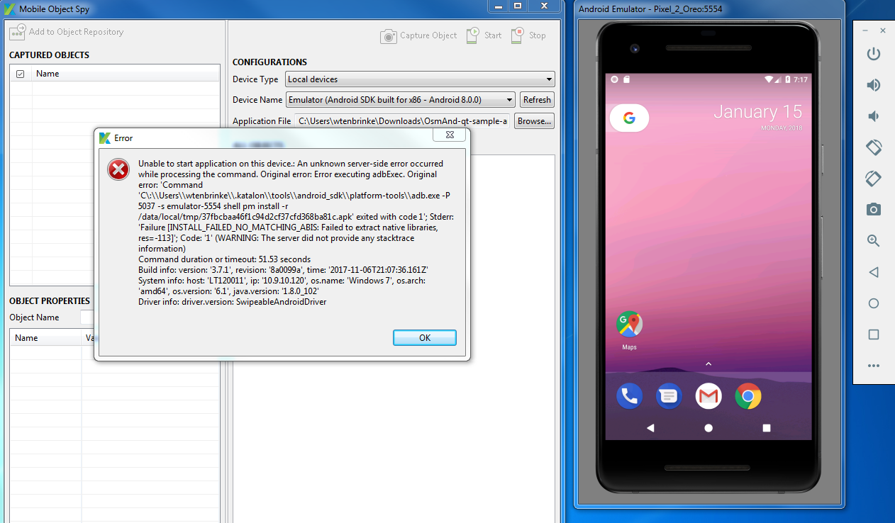 Not able to spy/record in android mobile - Mobile Testing - Katalon