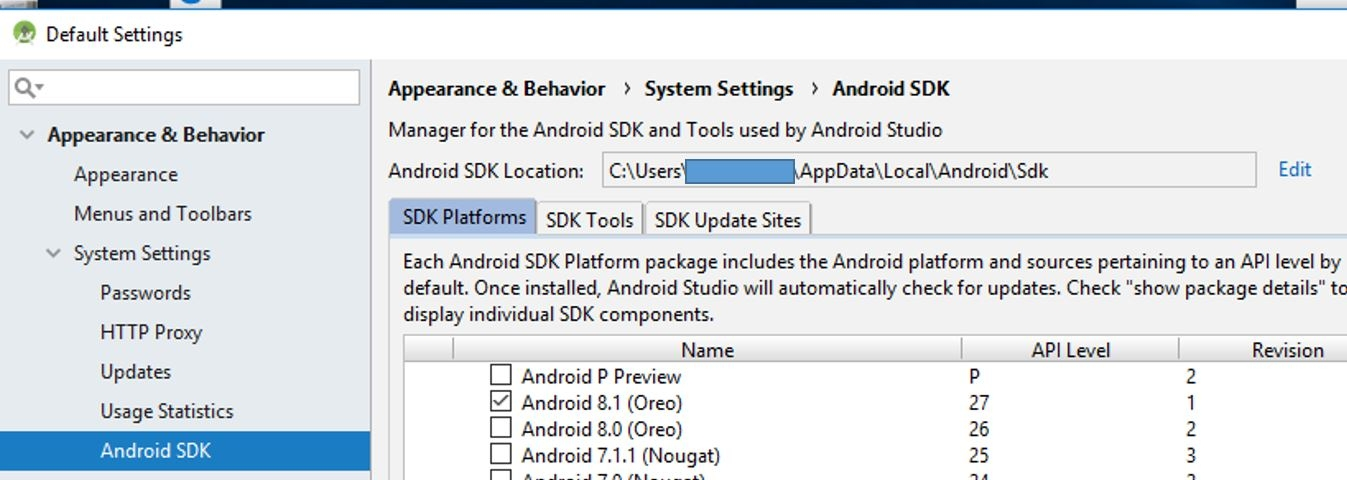 Click on 'record mobile' always pop up 'Android sdk is