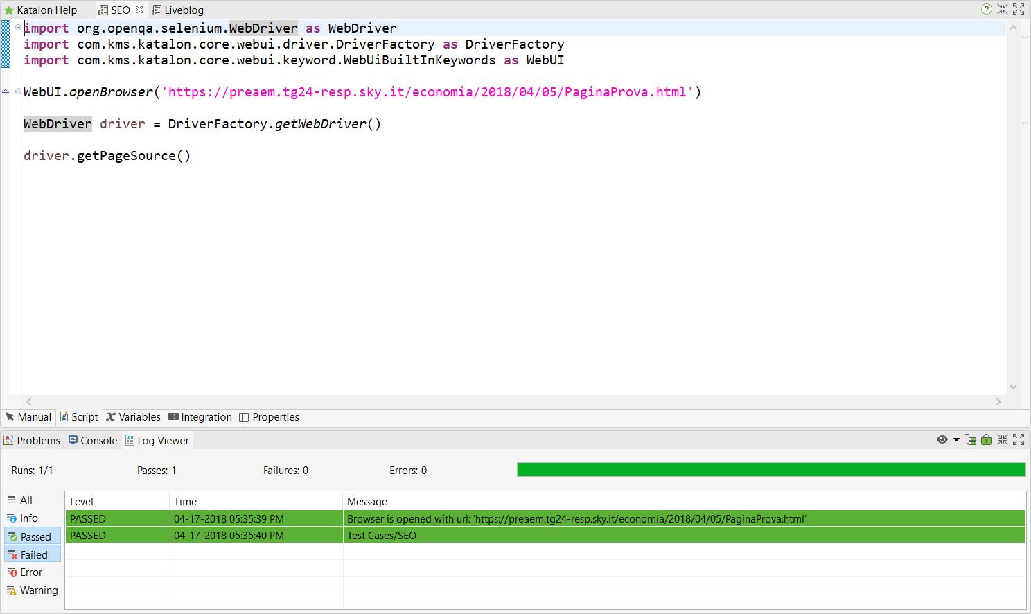 HTML of a web page - Web Testing - Katalon Community