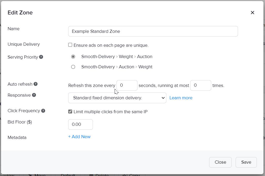 The edit zone window of standard zones