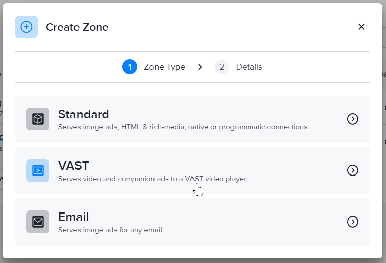 Creating a VAST zone