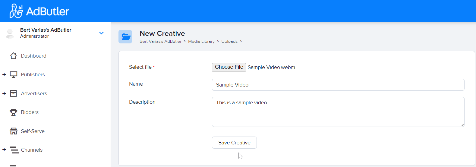 How to upload a video ad creative