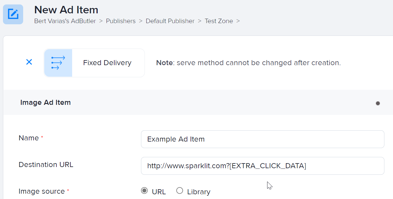 How to add extra click data in ad items
