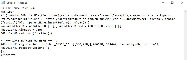 A header bidding header script with a zone entry code