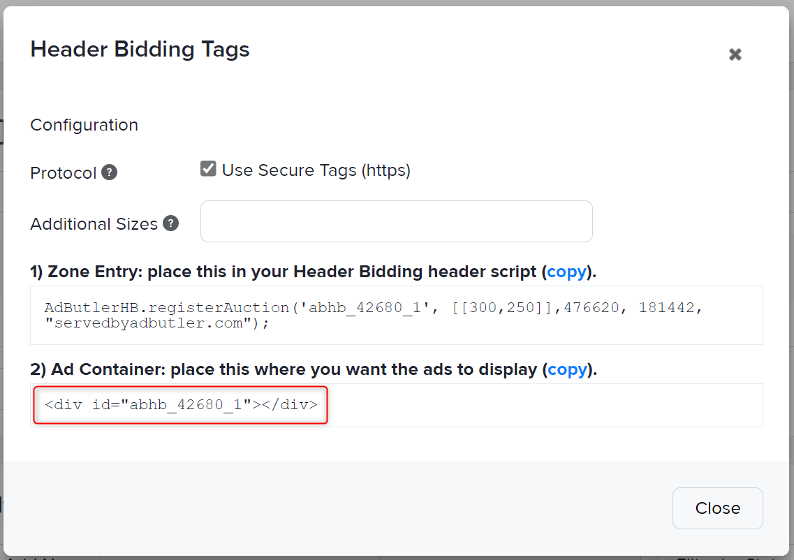 The zone ad container for header bidding