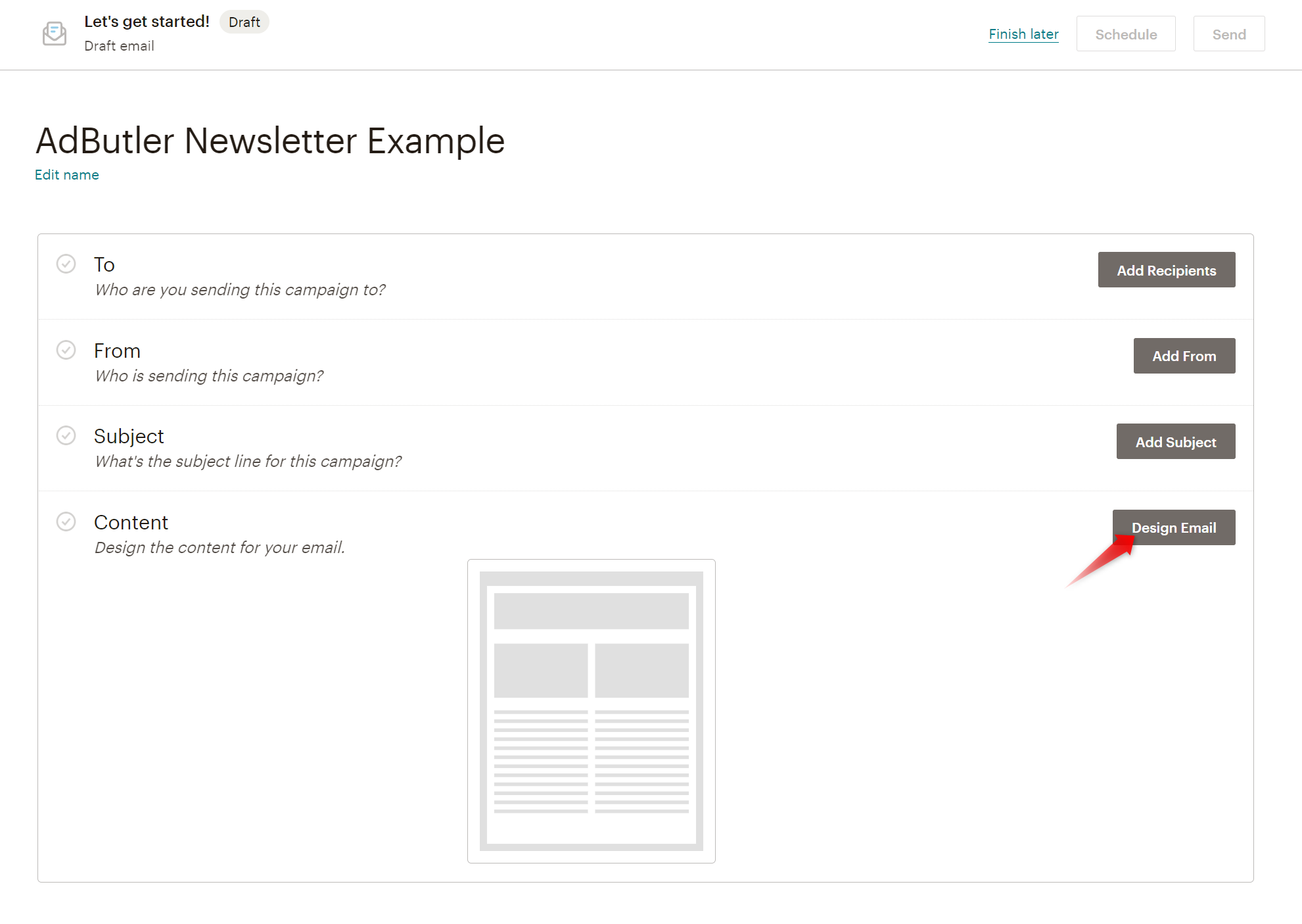 Creating an email template in Mailchimp