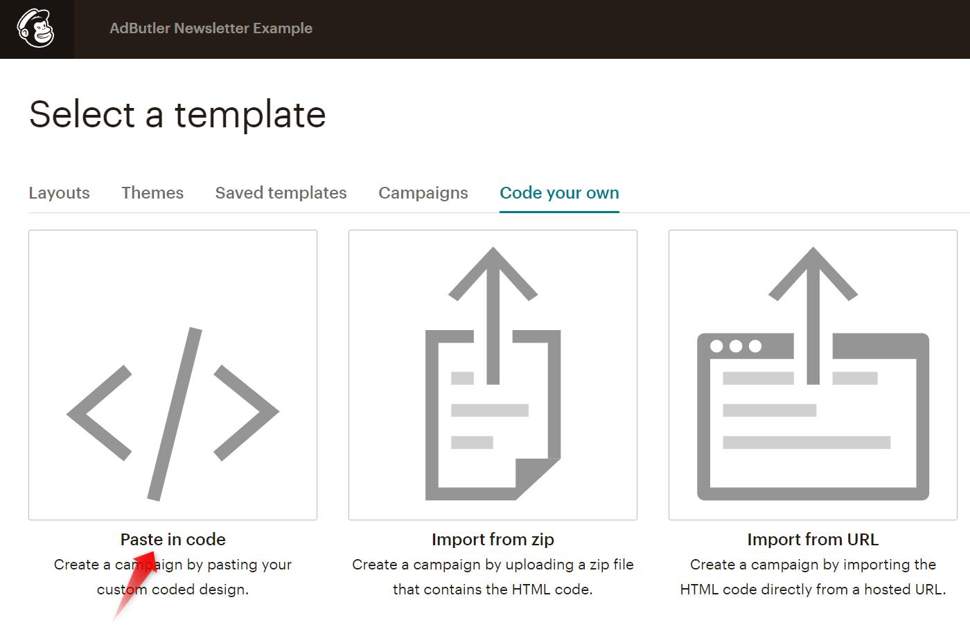 The paste code option in Mailchimp's email template creator