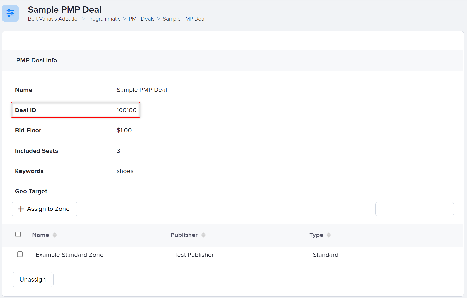The Deal ID in the PMP Deal settings